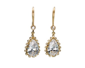 Large CZ Wedding Earrings in Extra Fine Setting, Wedding Jewelry, Bride Earrings, Bridesmaid Jewelry, Mother's Day,