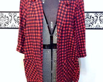 1980's Soft Red Hipster Flannel Blazer for Women by Landon West, Size Large, Vintage Grunge / Kurt Cobain / Red Polka Dot Lumberjack Shirt