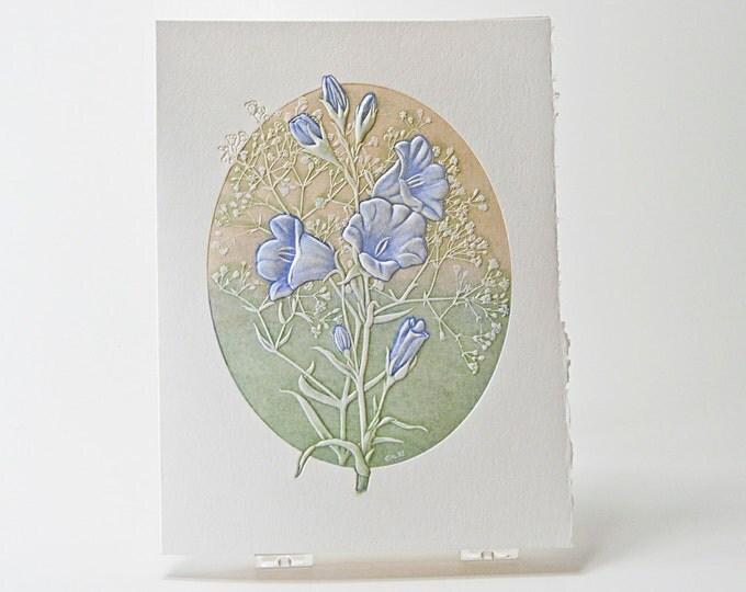 Bell Flower Note Card. Letterpress. Embossed. Love card