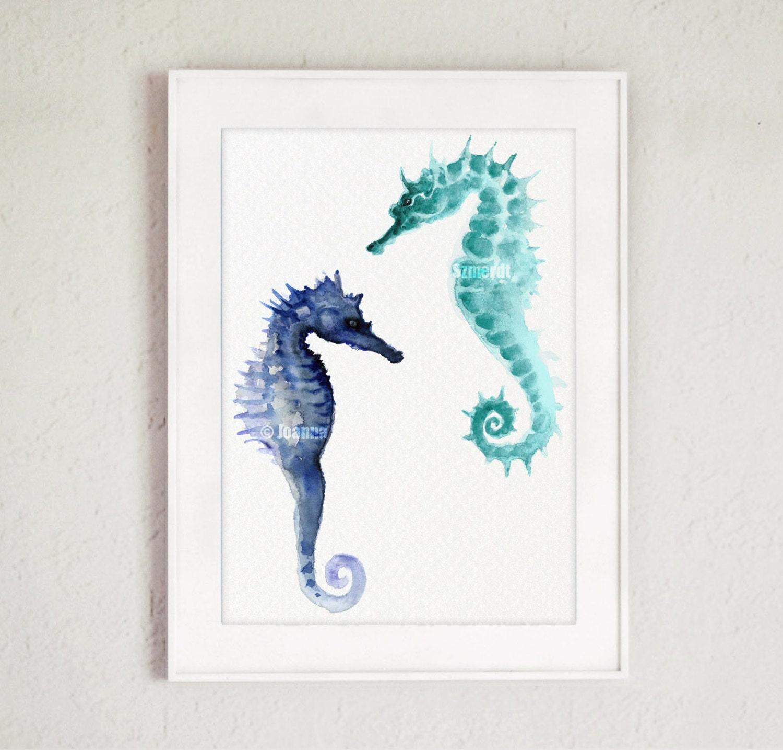 Two Seahorses Fine Art Print Blue Seahorse Home Decor Poster