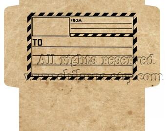 POST - Printable Download Digital Collage Sheet Big Envelope  - Print and Cut