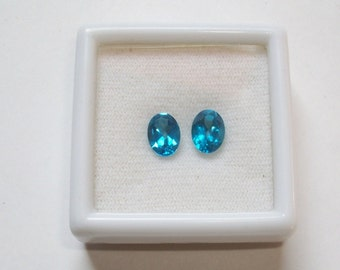 5X7 mm OVAL pair natural genuine SWISS blue topaz top cut  faceted gemstone....