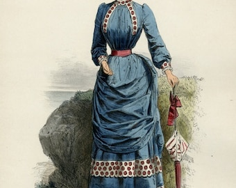 Gorgeous Fashion Print 1883 Paris Antique Chromolithograph Magazine Ad La Mode Artistique Beautiful Woman Gift