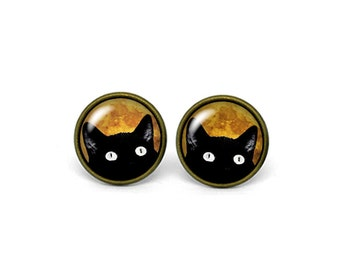 X324- Cat, Kitty, Glass Dome Post Earrings