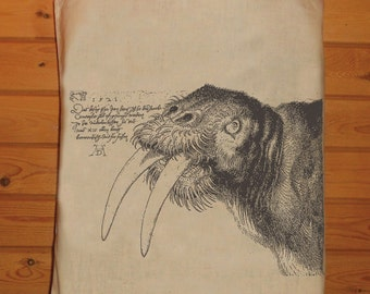 A Beautiful Old Drawing Of A Walrus Printed on a Tote Bag