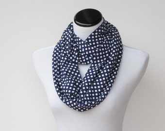 Infinity scarf navy blue white polka dots scarf - circle scarf loop scarf gift idea for her - gift for mom gift for girl