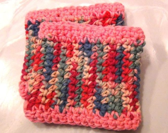 Cup Cozy - edged in pink - Set of 2