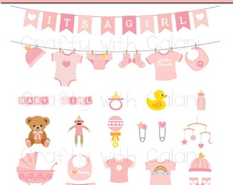 Baby Girl Clipart Girl Baby Shower Clipart Pink Baby