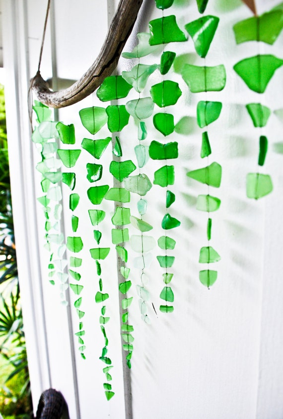 Large sea glass mobile wall hanging rustic decor beach - Hemp rope craft ideas an authentic rustic feel ...