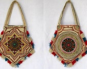 Vintage Hippie Purse / 1970s South American Mandala /  Hand Embroidered Bag / Vegan Handbag