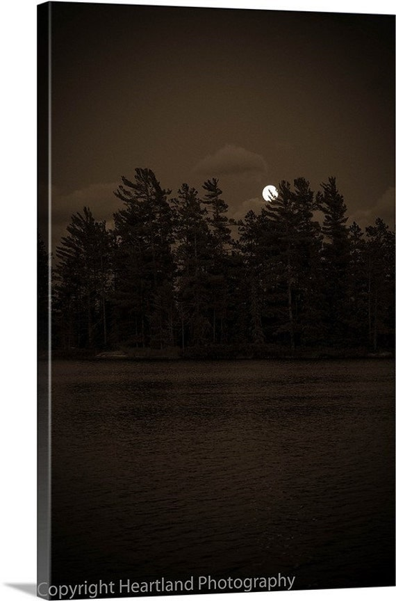 Sepia Canvas, Black and White, Boundary Waters, BWCA Canvas, Photo Canvas, Moon Landscape, Moonrise, Little Loon Lake, Lake Photography