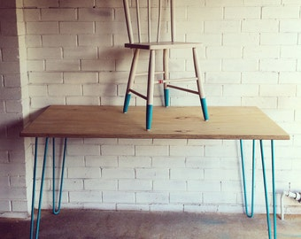Hairpin leg table with plywood top for Plywood table hairpin legs