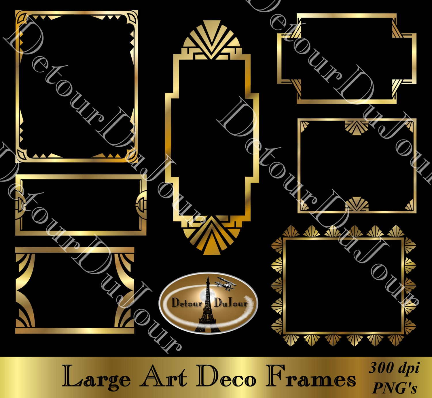 Art Deco Borders Digital Art Deco Frames Digital Gold