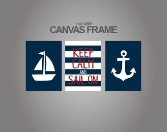 Nautical Canvas art prints for nursery -Anchor and boat - Keep Calm and Sail on design nursery canvases set of 3 - 1-1/4'' deep frame-71