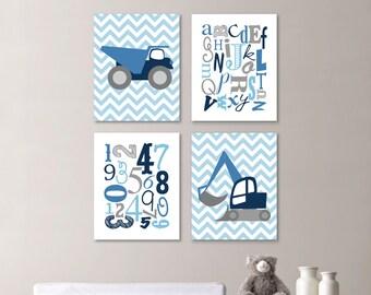 Baby Boy Nursery Art Print - Chevron Construction Nursery Prints - Alphabet Nursery Prints Bedroom Art Nursery Decor -  Blue Gray (NS-664)