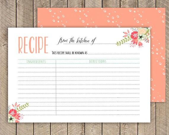 bridal shower recipe card printable recipe card 4x6 instant