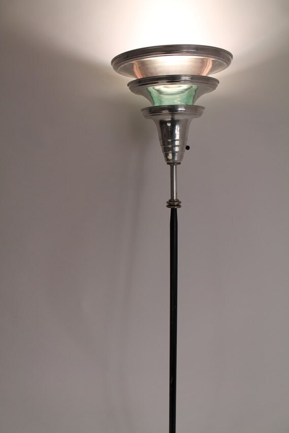 Art deco torchere floor lamp from or in the by vintagelampden for Art deco floor lamp canada