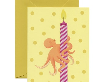 Octopus & Candle Birthday Card - ID: BIR010