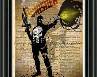 The Punisher - Punisher art print - Vintage Silhouette print  - Retro Super Hero Art - Dictionary print art