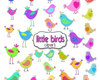 Bird Clipart, 30 Rainbow Birds Clipart, Bright Colors and Patterns, Birds Clipart, Original Doodle Birds Clipart, Digital Bird Clipart