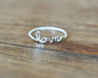 Love Script Message Stackable Ring in Sterling Silver