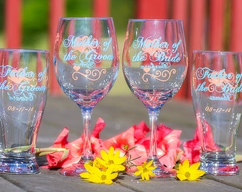 Mother of the Bride, Father of the Bride, Mother of the Groom, Father of the Groom, beer/ wine glass, coral, ice blue. Priced individually