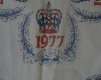 Commemorative Scarf for Queen Elizabeth's Silver Jubilee