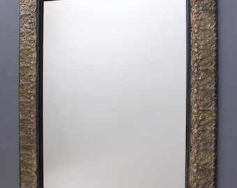 Mirror: wall modern mirror, gilted with oxidized copper leaves