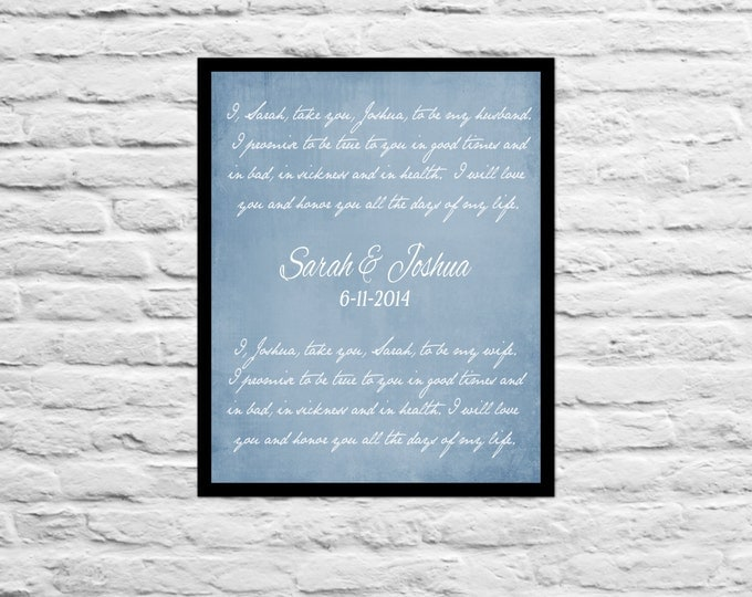 Gift For Wife Husband Anniversary Custom Wedding Vows Personalized Typography Quote Script Lyrics Song Unique Gift Present Best Friend Print