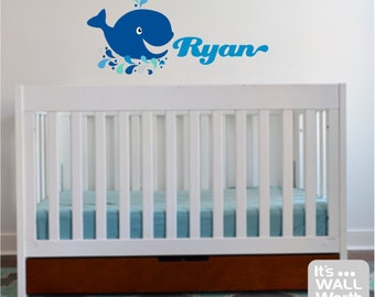 Whale with Custom Name Vinyl Wall Decal - Nursery or Children's Room Wall Sticker