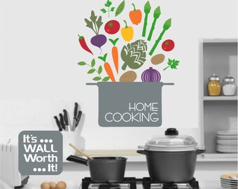 Pot of Vegetables Vinyl Wall Decal - Kitchen Wall Sticker