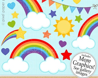 Rainbow clipart - Digital Clip Art - Personal and commercial use