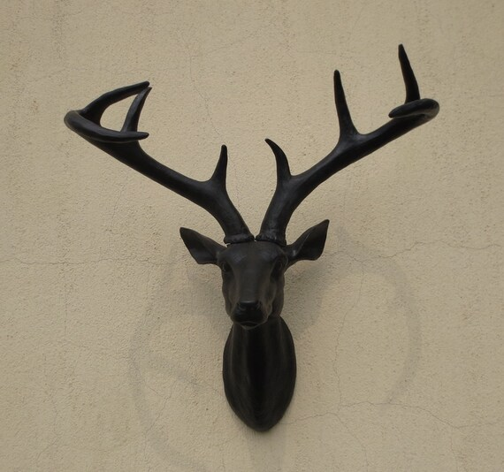 Black Deer Head wall decor, deer head, wall mount, wall hanging, faux taxidermy, deer home decor, home decor, wall art, christmas gift, head