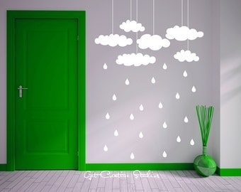 Clouds Decal Rain Storm Decal Hanging Cloud Decal Raindrops Wall Decals Clouds Wall Art Nursery Decor Springtime Decor Rain Wall Decal