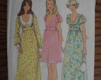 Vintage Simplicity Pattern 5568 High Waist Ruffled Neckline or Collar & Scoop Neckline Dress Bust 34