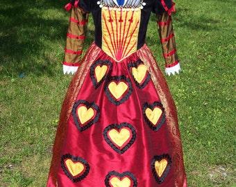Alice in Wonderland Tim Burton Red Queen - Queen of Hearts Dress Gown Custom Costume