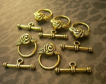 "ROSES with Leaves Toggle Clasps Brass Gold Pewter lot of 5 sets = 10 pieces Petite 1"" One Inch Bar"