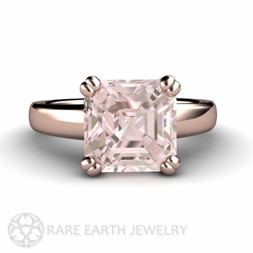 3ct Asscher Morganite Ring Morganite Engagement Ring by RareEarth