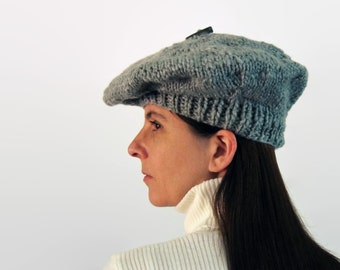 Gray Beret, Hand Knitted Beret, Gray Soft Wool, Slouchy Tam, Chunky Knit Hat, French Beret, Woman Hat, Tam Hat, Winter Hat, Tam O Shanter
