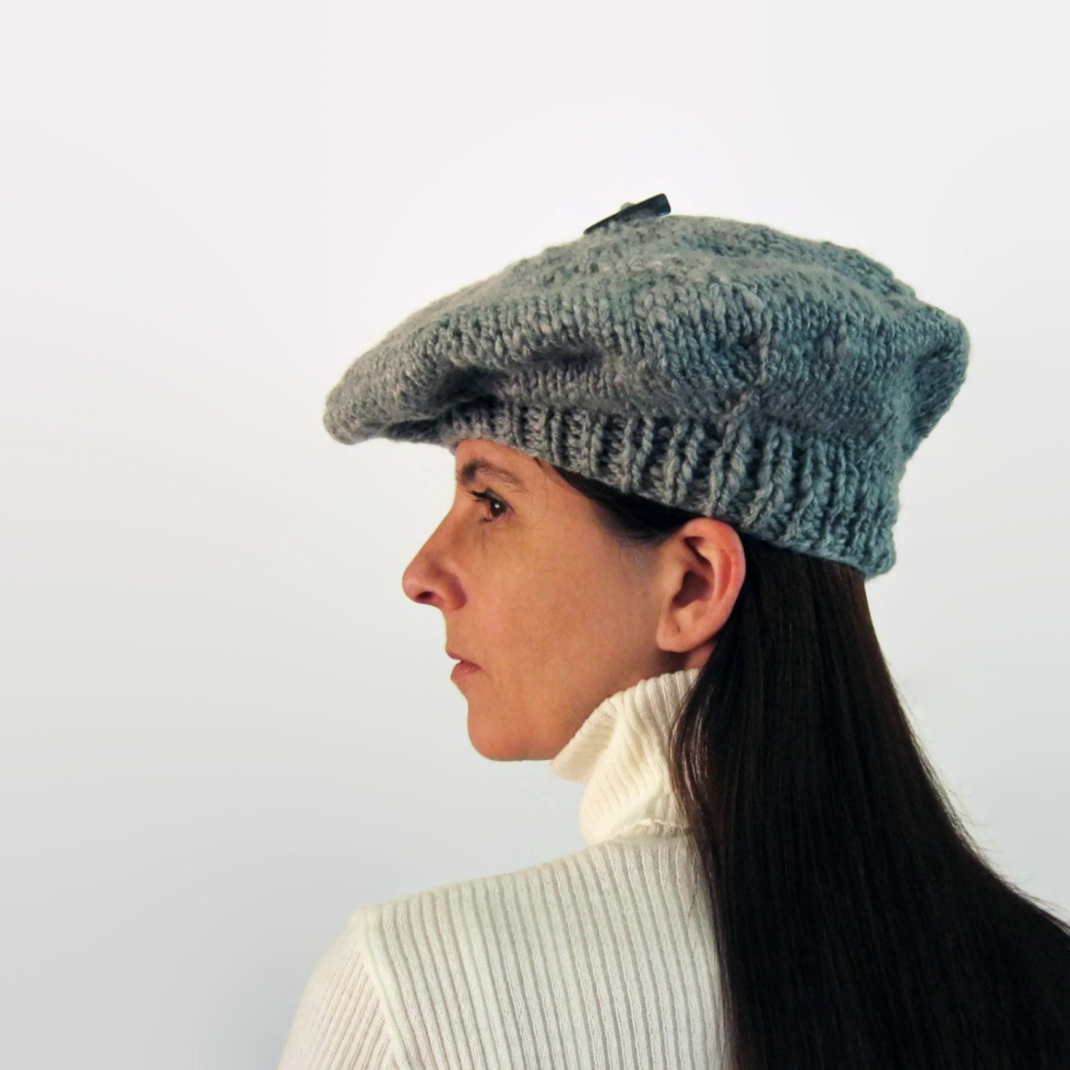 cf0d25fcff5a0 ... Hat Costume Accessory Wool Beret Tam  Gray Wool French Beret Tam O  Shanter Hand Knitted Soft