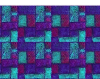 Squares Blue Purple Pools from Above Fabric 1 yard
