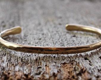 "artisan hammered 14k gold cuff, 14k gold bracelet, one of a kind, hammered cuff, 14k gold forged cuff, 7"" wrist, mens, womens"