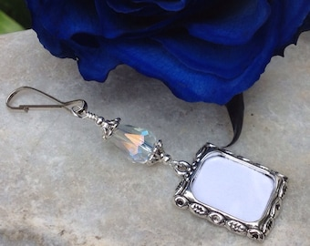 Wedding bouquet photo charm. Photo charm with teardrop crystal. Bridal bouquet pix.  Memorial picture charm. Bridal shower gift