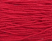 6/0 Opaque Light Red Czech Glass Seed Bead Strand (CW124) SE