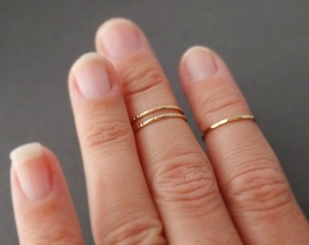 3 midi Rings - 2 Notched Midi Rings 1 Hammered Ring choose silver, gold or rose gold thin gold ring stacking ring set