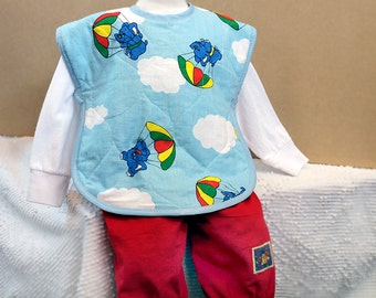 Elephant Baby Gift Full Coverage Bib Large Toddler Bib Toddler Gift Unisex Baby Shower Gift Cotton Quilted Vintage Fabric Retro Baby Gift