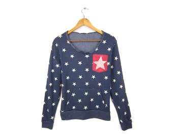 Starry Pocket Sweatshirt - Scoop Neck Raw Edge Long Sleeve Fleece Pocket Sweater in Navy and Red Stars and Stripes - Women's Size S-XL