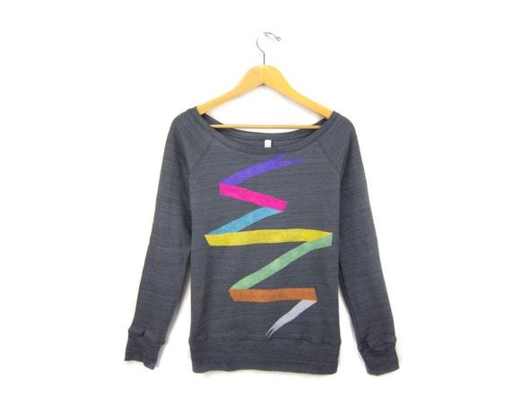 Ribbon Banner - Sweatshirt - Scoop Neck Relaxed Fit Fleece Raglan Sweater in Asphalt Grey Marl Neon Multi Rainbow - Women's Size S-2XL