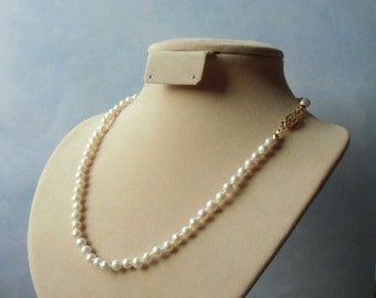 White freshwater pearls, hand knotted white 5mm pearls necklace. June birthstone.