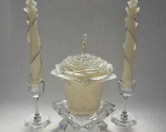 Glam Wedding Unity Candle Set, Glitter Candles, Rose Candles, Fairytale Wedding Unity Candle, White Silver Wedding Candles, Unique Candles